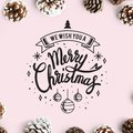 We wish you a Merry Christmas card mockup Royalty Free Stock Photo