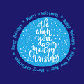We wish you a merry Christmas - quote on patterned background Royalty Free Stock Photo