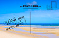 Wish You Were Here summer vacation postcard Royalty Free Stock Photo