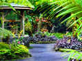 Wishing well complete with wooden bucket and blooming orchids sits in the national tropical botanical garden on the big island of Royalty Free Stock Images
