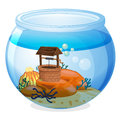 A wishing well inside the aquarium illustration of on white background Stock Images