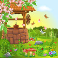 Wishing well in the spring vector illustration of season Royalty Free Stock Images