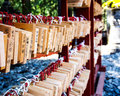 Wishing wood tags hanging in japanese shinto shrine wooden nikko japan Stock Photo