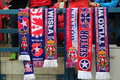 Wisla krakow poland october scarves fanatical supporters during the football match between and legia warsaw on Royalty Free Stock Image