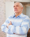 Wistful grizzled elderly man Royalty Free Stock Photo