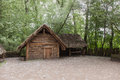 Wisz s farmstead ancient wooden in biskupin archaeological site Stock Photo