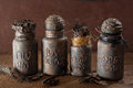 Witch apothecary jars magic potions halloween decoration Royalty Free Stock Photo