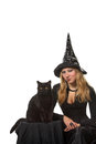 A witch with a black cat young woman in costume Stock Photo