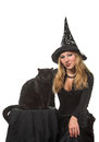 A witch with a black cat young woman in costume Royalty Free Stock Photos