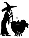 Witch brewing a potion in a cauldron silhouette of with mixing up Royalty Free Stock Photo