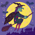 Witch on Broom. Stock Image