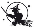 Witch on a broom full moon night Stock Image