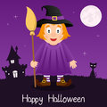 Witch with Broom Happy Halloween Card Royalty Free Stock Photo