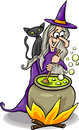 Witch casting a spell cartoon illustration of funny fantasy or halloween with black cat cooking magic mixture Royalty Free Stock Images