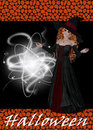 Witch Casting a Spell Halloween Background Royalty Free Stock Photos