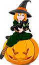 Witch and cat Stock Photos