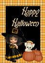 Witch, Cat, Pumpkin Happy Halloween Background Stock Photography