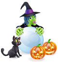 Witch cat pumpkins and crystal ball Royalty Free Stock Photo