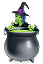 Witch and cauldron cartoon a character peeking over a bubbling s brew in a big Stock Photos