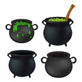 Witch cauldron empty and with green potion, bubbling witches brew set. Realistic Vector illustration isolated on white background. Royalty Free Stock Photo