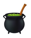 Witch cauldron with green potion, bubbling witches brew. Realistic Vector illustration isolated on white background.