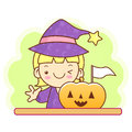 Witch character and pumpkin work and job character design serie series Stock Photography