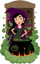 Witch cooks potion Royalty Free Stock Image