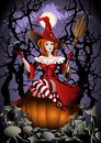 The witch with a crow cute sitting on huge pumpkin against mushrooms glade and naked trees Royalty Free Stock Photos