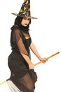 Witch flying with broom Royalty Free Stock Image