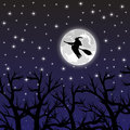 Witch flying on a broom on a full moon in the forest Royalty Free Stock Photos