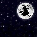 Witch flying on a broom on a full moon in the forest illustration Royalty Free Stock Photography