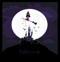 Witch flying on a broom in moonlight Stock Photo