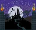 Witch flying on a broom in moonlight illustration Stock Photography