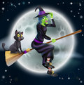Witch flying on broom and night sky a halloween illustration of a green her with her cat in front of a star lit with full moon Stock Photos