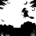 Witch flying over the forest, silhouette Royalty Free Stock Images