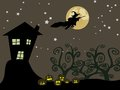 Witch flying over the moon halloween Stock Photography