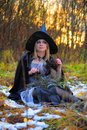 Witch in the forest Stock Photography