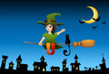 Witch girl flying on a broom Royalty Free Stock Photo
