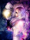 Witch on grunge background purple with d conjuring Royalty Free Stock Images
