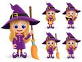Witch halloween character vector set. Female cute witch characters happy standing.