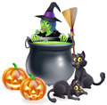 Witch halloween scene a with green peeking over a cauldron with broomstick pumpkins and cats Royalty Free Stock Photography