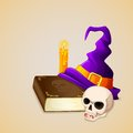 Witch hat on antique book with skull vector illustration of Stock Image