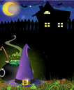 Witch hat cauldron and haunted house boiling near the with glowing windows Royalty Free Stock Photos
