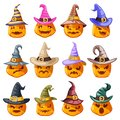Witch hat decoration halloween jack o lantern pumpkin scary faces smile emoji icons set isolated cartoon design vector