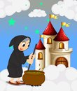 A witch and her magical pot near the castle illustration of Stock Photography