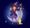 A witch holding a broom with a moon and stars at the back illustration of Royalty Free Stock Photography