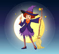 A witch holding a broom standing at the center of a moon illustration Stock Images