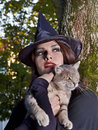 Witch holding cat outdoor. Royalty Free Stock Photos
