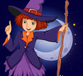 A witch holding a stick in front of the crescent moon illustration Royalty Free Stock Photography