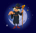 A witch holding a stick in front of the moon illustration Stock Photos